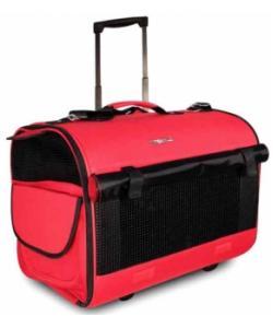Сумка -чемодан для животных на колесах, 45*34*37 см, красный/чёрный (FFH011)