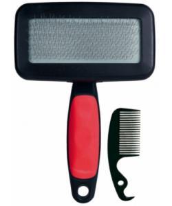 Щетка-пуходерка мягкая 13,5 х 10 см с пластиковой ручкой + расческа - 23462