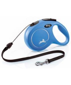 Рулетка-трос для собак до 20кг, 8м, (New Classic M cord blue)