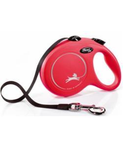 Рулетка-ремень для собак до 50кг 5m красная (New Classic L 5m Tape red)