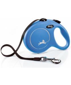 Рулетка-ремень для собак до 50кг, 8м, голубая (New Classic L Tape 8 m, blue)