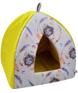 Дом вигвам «Птицы» мебельная ткань, горчично-желтый, 38*38*40 см