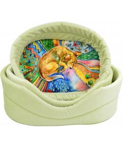 """Лежанка """"Сны"""", рисунок собака, мебельная ткань (салатовая)"""
