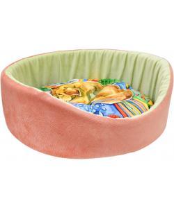 """Круглая """"Сны"""" лежанка, рисунок собака, мебельная ткань (коралловая), 43х16 см"""
