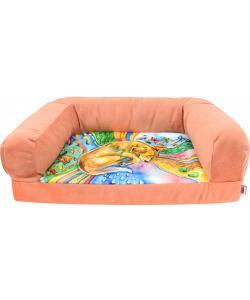 """Диван """"Сны"""" лежанка , рисунок собака, мебельная ткань (коралловая)"""