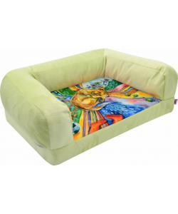"""Диван """"Сны"""" лежанка, рисунок собака, мебельная ткань (салатовая)"""