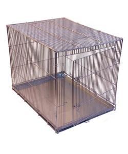 Клетка-переноска для собак с металлическим поддоном, складная, 80см*60см*65см, хром