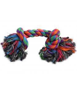 Веревка цветная с двумя узлами для собак, хлопок, 20 см