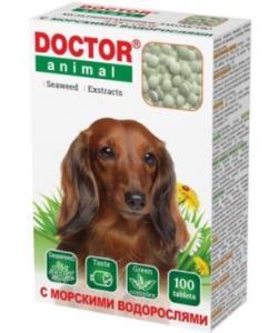 Мультивитаминное лакомство Doctor Animal с морскими водорослями, для собак, 100 таблеток