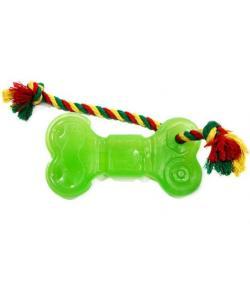 Игрушка для собак Кость большая с канатом зеленая 16,4см