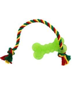 Игрушка для собак Кость малая с канатом зеленая 10,2см