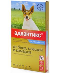 Адвантикс Капли для cобак 4-10кг от блох, клещей, 4 пипетки по 1мл