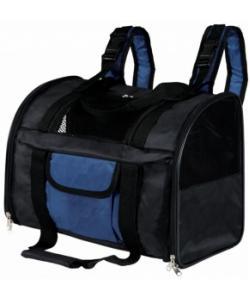 Сумка-рюкзак для кошек и собак до 8 кг, нейлон, черно/синий (2882)