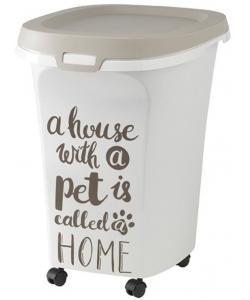 Контейнер для корма большой Pet Wisdom, 38 л, серый