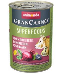 Консервы для взрослых собак c говядиной + свекла, ежевика, одуванчик (Gran Carno Superfoods)
