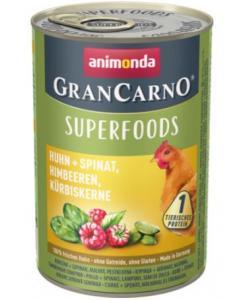 Консервы для взрослых собак c курицей + шпинат, малина, тыквенные семечки (Gran Carno Superfoods)