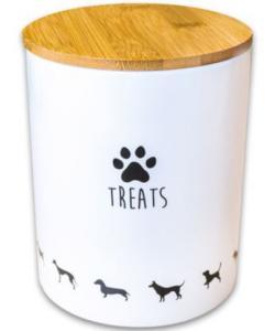 Керамический бокс для хранения лакомств для собак, белый 1300мл