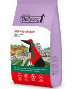 Для пожилых собак и собак склонных к ожирению всех пород с говядиной и курицей
