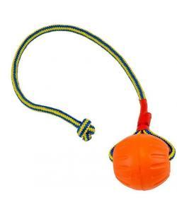 Игрушка для собак «Мяч с канатом» 9см.