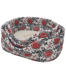 Лежанка лен и мебельная ткань овальная для собак и кошек бежевая
