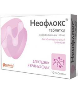 Neoterica Protecto Неофлокс, антибактериальный препарат для средних и крупных собак, 10 таб.