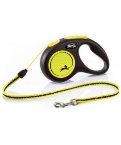Рулетка-трос светоотражающая для собак до 12кг, 5м, желтая (New Neon S Cord 5m yellow)