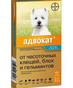 Адвокат капли для щенков и собак 4-10 кг от блох, клещей и глистов, 1 пипетка 1 мл