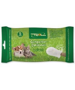 Салфетки-рукавицы влажные для животных 5 шт. (DP15)