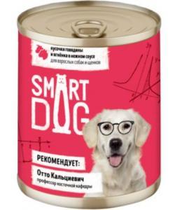 Консервы для взрослых собак и щенков кусочки говядины и ягненка в нежном соусе