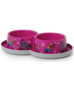 Двойная нескользящая миска Trendy - Друзья навсегда, ярко-розовая, 2 *350 мл