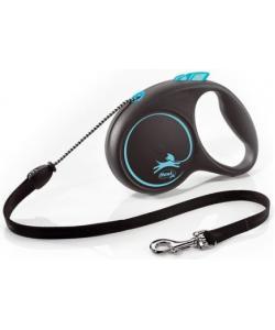 Рулетка-трос для собак до 20кг, 5м,  синяя (Black Design M Cord 5m  blue)