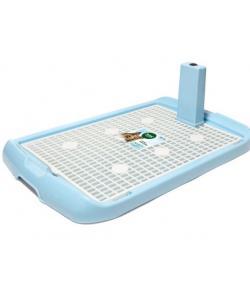 Туалет PL002 для собак со столбиком, голубой, 60*40*4см