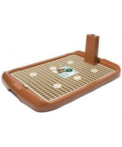 Туалет PL002 для собак со столбиком, коричневый, 60*40*4см