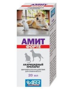 Амит форте - акарицидный препарат для лечения демодекоза, отодектоза и др. саркоптоидозов