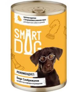 Консервы для взрослых собак и щенков кусочки курочки с потрошками в нежном соусе