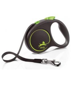 Рулетка-ремень для собак до 15кг, 5м, зеленая  (Black Design S Tape 5m green)