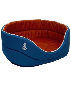 """Лежанка """"Морская"""" оксфорд водоотталкивающая ткань для животных синий/красный"""