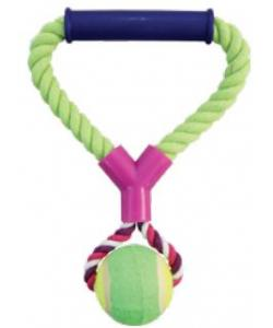 Верёвка цветная с мячом с резиновой ручкой 26 см (0105XJ)