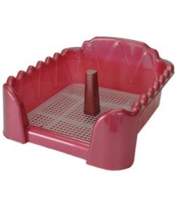 Туалет для собак cо столбиком, красный перламутр, 60*40см