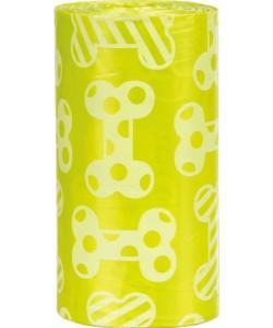Пакеты для уборки за собаками, 3 л, 4 рулона по 20 штук, с ароматом лимона, желтые (23473)