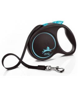 Рулетка-ремень для собак до 25кг, 5м, синяя (Black Design M Tape 5m blue)