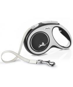 Рулетка-ремень для собак до 25кг, 5м, черная (New Comfort M Tape 5m black)