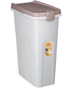Контейнер для корма белый со светло-коричневой крышкой 40 л, 45*27*61 см