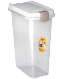 Контейнер для корма прозрачный с белой крышкой 25 л, 39*24*51 см
