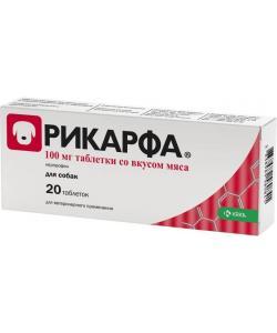 Рикарфа, противовоспалительный препарат для собак таблетки со вкусом мяса 100 мг №20