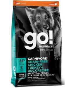 Беззерновой для взрослых собак всех пород 4 вида мяса: индейка, курица, лосось, утка (GO! CARNIVORE GF Chicken,Turkey + Duck Adult Recipe DF)