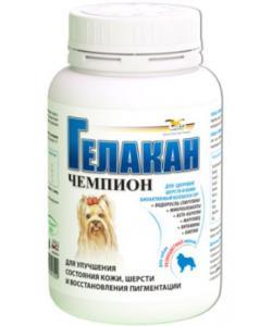 Кормовая добавка для яркости окраса цветных пород собак Чемпион (Gelacan Champion)