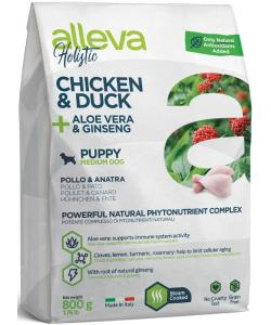 Holistic dog сухой корм для щенков (курица и утка, алое вера и женьшень) Chicken & Duck + Aloe vera & Ginseng Puppy Medium
