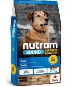 Cухой корм для взрослых собак с курицей и коричневым рисом S6 Nutram Sound Adult Dog