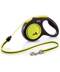 Рулетка-трос светоотражающая для собак до 20кг, 5м, желтая (New Neon M Cord 5m yellow)